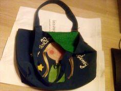 faceshopper.blogspot.it - faceshopper in tela canvas blu e cotone americano verde; dipinta e cucita a mano