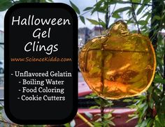 Discover how to make your own Halloween window gel clings with 3 kitchen ingredients. Nontoxic squishy festive colorful fun the kids will love! - Unflavored Water - Ideas of Unflavored Water Easy Halloween Decorations, Holidays Halloween, Halloween Kids, Halloween Crafts, Halloween Party Activities, Halloween Science, All You Need Is, Halloween Window Clings, Science Activities For Kids
