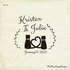 CATS in love-wedding Stamp save the date by TheOneRubberStamps