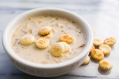 New England clam chowder made from scratch with hard shell clams, salt pork or bacon, potatoes, and cream.