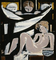 Moralis Yannis - Funerary Composition V, 1963 Vinavyl glue on canvas, 79 x 73 cm Donated by the artist inv. National Gallery, Greek Art, Art Station, Art Database, Cubism, Figure Painting, Traditional Art, Modern Art, Images