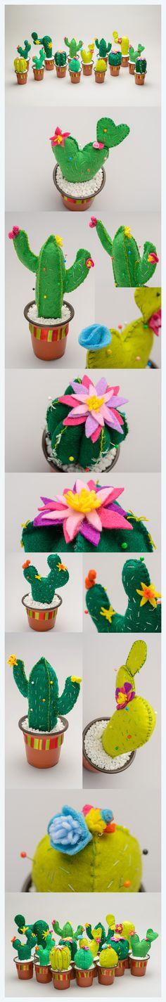 Costurero de cactus en fieltro recuerdo fiesta de noviembre. revolución mexicana Felt cactus. Centros de mesa mexican party