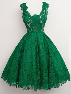 Green Homecoming Dresses,Lace Homecoming Dresses, Vintage A-Line V-neck Knee Length Prom/Homecoming Dress With Lace Vintage Homecoming Dresses, Short Lace Bridesmaid Dresses, Green Lace Dresses, Vintage Prom, Dresses Short, Elegant Dresses, Pretty Dresses, Vintage Dresses, Prom Dresses