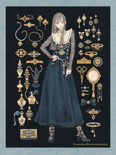 Vintage Fashion Sketches, Fashion Design Drawings, Anime Dress, Illustration Mode, Outfit Maker, Drawing Clothes, Anime Outfits, Character Design Inspiration, Kawaii Fashion
