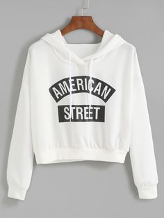 White Letter Print Hooded Sweatshirt $22.49