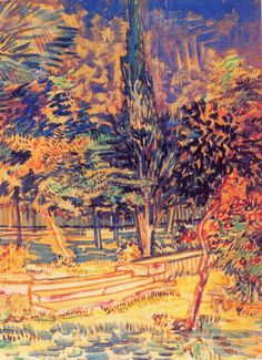 Stone Steps in the Garden of the Asylum Vincent van Gogh https://hemmahoshilde.wordpress.com/2015/03/21/vincent-van-goghs-sunny-trees-during-a-rather-dark-period-in-his-life/