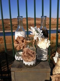 RUSTIC CHIC VASES for Weddings or Cottage Decor : Rustic Farm House and Shabby chic/Burlap Lace Mason Jar style Vases candle holders