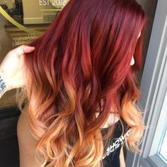 Glossy Rose - 20 Brilliant Rose Gold Hair Color Ideas for 2019 - The Trending Hairstyle Fire Ombre Hair, Fire Hair, Brown Ombre Hair, Pretty Hair Color, Hair Color Dark, Red To Blonde, Hair Dye Colors, Dye My Hair, Gorgeous Hair