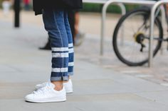 London Street Style Photos That Prove Fall Is NOT Boring #refinery29 http://www.refinery29.com/2015/09/94443/london-fashion-week-spring-2016-street-style-pictures#slide-16 It wouldn't be street style without some Stan Smiths....