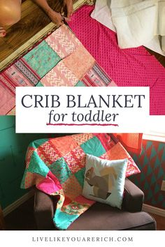 For both my son's and daughter's nurseries I've wanted to make custom crib blankets to match the color scheme, theme, and decor. I've been very happy with the crib/toddler blanket I made for my son so I wanted to make a very similar one for my daughter. So I'm sharing how I complete the project. Toddler Blanket, Crib Blanket, Do It Yourself Projects, Diy Home Improvement, Baby Cribs, Nursery Room, Easy Projects, Diy Room Decor, Decorating Your Home