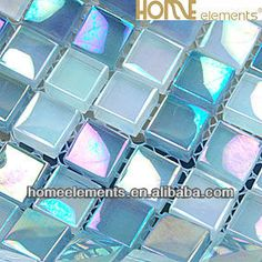 Mer0019 Blue Glass Tile Iridescent Glass Mosaic Tile Swimming Pool Blue Tile…