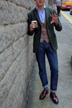 Ring Jacket Tweed Jacket in Green Donegal  Ring Jacket Tweed Vest  Liverano Blue Shirt  Armoury Denim   Carmina Longwings in Bordeaux Cordovan
