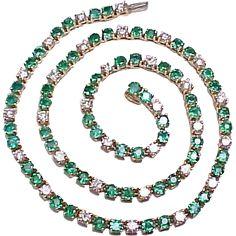 Emerald & Diamond Tennis Necklace 15.50 CARATS 18k Gold