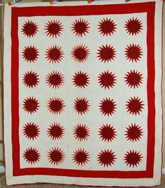 AMAZING Vintage 1880's Red & White Rising Sun Compass Sunflower Antique Quilt!