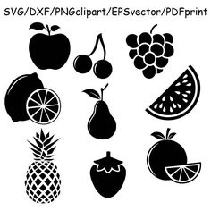 Fruits SVG fruit svg fruits silhouettes fruits clipart