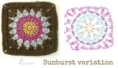 """(Crochet * Stash-buster)              I had left-over yarn from my """"Study In Squares"""" blanket , so I thought of making a flowery cushion wi..."""