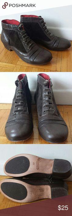 Kickers Brown Leather Booties EUC Excellent used condition!  Worn a couple of times, but unfortunately too small for me. Low heels, very comfy. Size EU 38, fit like US7 I'd say. I'm 7.5 with slightly  wider feet and they are a bit small. I will consider all reasonable offers! Kickers Shoes Ankle Boots & Booties