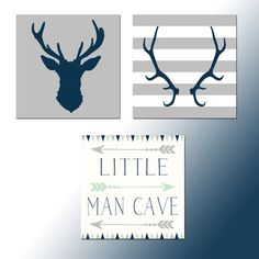 Deer Nursery Prints for baby boys room Little Man Cave Sign