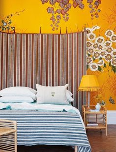 How to use mint and gold paint and bamboo furniture, via House & Garden. House Color Schemes, House Colors, Colour Schemes, Bamboo Furniture, Home Furniture, Painted Bed Frames, Backboards For Beds, Pine Bed Frame, Pine Beds