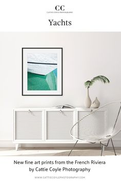 Nautical art from the French Riviera. Semi-abstract fine art photography print of the bow of a yacht and the aquamarine waters of the Mediterranean. Click for more images and to buy prints! Coastal Wall Decor, Coastal Art, Beach House Decor, Coastal Living, Above Couch, Dream Beach Houses, Nautical Art, Water Photography, House Art