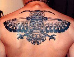 Unique Aztec tribal back tattoo