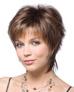 Hair Lengths: Fringe: 3 Crown: 4 Nape: 4 Colors Shown: Nutmeg-H (first image), Auburn Sugar-R (second image), and Silver Stone (third image). Note: Auburn Sugar-R and Silver Stone are not Rooted C Short Hair Syles, Short Choppy Hair, Short Shag Hairstyles, Short Curly Wigs, Short Layered Haircuts, Short Hair With Layers, Short Hairstyles For Women, Ladies Hairstyles, Pixie Haircuts