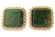 Marbleized Jade  Earrings on OneKingsLane.com