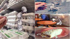 Artiest laat cartoons los op het dagelijkse leven