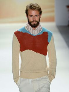 Perry Ellis: The First Look Fashion Week Live, Mens Fashion Week, Runway Fashion, Men's Fashion, Fashion Ideas, Perry Ellis, Dapper Dan, Best Model, Color Block Sweater