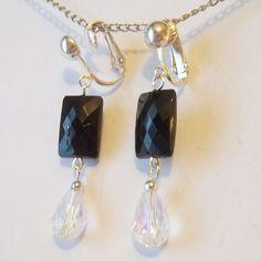 CLIP ON 1.25in BLACK Clear AB Drop Handmade Non-Pierced Dangle Earrings Z353 #Handmade #DropDangle
