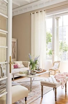 Decorate Neutral Interiors With A Delicate Touch Of Color - decoration,wood,wood working,furniture,decorating Beige Living Rooms, Home Living Room, Living Room Designs, Living Room Decor, Living Spaces, Living Room Inspiration, Home Decor Inspiration, Decor Ideas, Style At Home