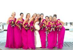 Cerise bridesmaids dresses