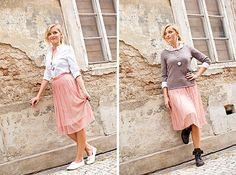 Na foto (zleva): sukně (Promod, 999 Kč), košile (KappAhl, 499 Kč), bílé tenisky (H, 299 Kč), náhrdelník (stylistky vlastní), prsten (H, 149 Kč), vpravo – boty (Baťa, 1999 Kč), svetr (Promod, 399 Kč); Marie Bartošová