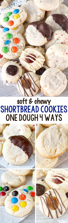 Soft and Chewy Shortbread Cookies - this easy cookie recipe has one dough and can be made 4 ways! There are only 4 ingredients in the basic shortbread dough, dip them in chocolate, add M&Ms or make them into thumbprint cookies!