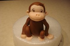 A fondant figure for a Curious George cake. He was fun to make. Fondant Cake Tutorial, Fondant Cake Toppers, Cupcake Cakes, Cupcakes, 3d Figures, Fondant Figures, Cake Decorating Tutorials, Cookie Decorating, Marzipan