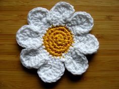 Items similar to Crocheted Daisy, Cotton on Etsy Crochet Daisy, My Etsy Shop, Creative, Cotton, Handmade, Stuff To Buy, Vintage, Hand Made, Craft