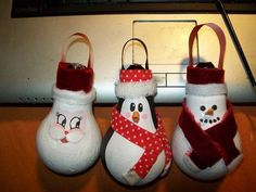 Lightbulb Ornaments! - OCCASIONS AND HOLIDAYS . Recycle, christmas, cheap gift, christmas tree ornament. penguin, santa, snowman @deb rouse schwedhelm Verity
