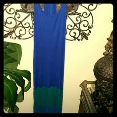 ***TANK TOP DRESS*** Royal Blue Dress w... A lighter blue and green stripe at the bottom... Long... Nice thin straps at the too giving it a sleek sexy look... Dress up your casual... Rayon material. Dresses Maxi