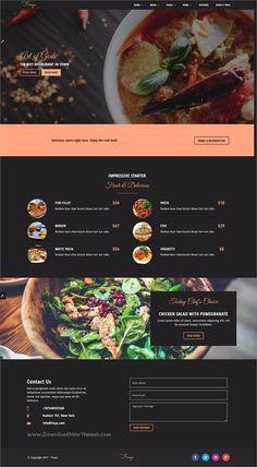 Freya - Flexible HTML Restaurant Template Food Web Design, Web Design Tips, Web Design Trends, Website Design Layout, Website Design Inspiration, Website Designs, Website Ideas, Dessert Restaurant, Restaurant Restaurant