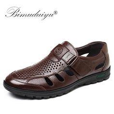 14b0c21def78 BIMUDUIYU Genuine Leather Men Summer Sandals Breathable Casual Shoes Man  Closed toe Beach Shoes Rubber Sole Mens Sandals Drop Sh