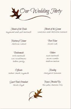 Wedding Reception Program Sample  Weddings  Events Puram Family