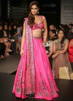 Lakme Fashion Week - Arpita Mehta - Ileana D'Cruz side - Pink and silver lehenga