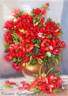 picture Red roses  Silk ribbon embroidery by SilkRibbonembroidery