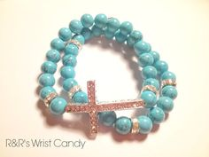 Cross and Bright Blue Beaded Bracelet Set by RandRsWristCandy, $9.00