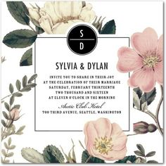 invitation cream dusty rose black minimalism romantic urban glam