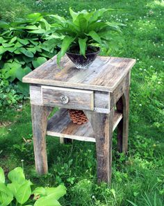 Natural Reclaimed Wood End Table / Night Stand, Unfinished - Handmade. $350.00, via Etsy.