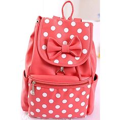Amazon.com: L-luck 2015 New Style PU Korean Fashion Casual College Wind Bow Polka Dot Shoulder Bag/ Backpack Schoolbag for Students School Girls (Pink): Computers & Accessories