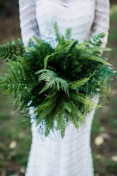 Though florals are considered an indispensable part of wedding decor, one of the biggest wedding trends is a no bloom trend. Greenery non-floral wedding decor is a very popular thing now. Lets see how to rock greenery wedding bouquets. Fern Wedding, Botanical Wedding, Floral Wedding, Wedding Bouquets, Wedding Flowers, Bridesmaid Bouquets, Church Wedding, Purple Wedding, Garden Wedding