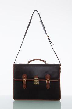 Cathy Prendergast Irish Designer Leather Handbags - Ossian Black and Tan Briefcase Leather Briefcase, Leather Bags, Pebbled Leather, Leather Men, Designer Leather Handbags, Men's Collection, Irish, Stylish, Accessories