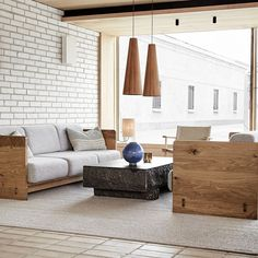 """""""The design concept is based on a sense of Scandinavian locality yet avoids clichés. The clean, sharp and modern lines of the piece make it reminiscent of 1970s Danish design. The sofa is a sophisticated yet calming design. It features signature Brdr. Kruger detailing and skillfully crafted woodwork, including the visible delicate wedge joints on both sides of the piece."""" - David Thulstrup Featured product: BRDR Kruger Karm Sofa Little Houses, Danish Modern, Danish Design, Scandinavian, Woodworking, Sofa, Photo And Video, Storage, Calming"""